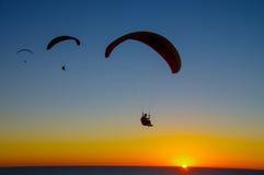 在日落的三个滑翔伞 免版税库存图片