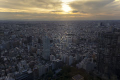 在日落的东京都市风景 库存照片