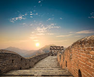 在日落的中国greatwall 免版税库存照片