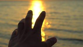 在日落的人手在海,海洋海滩 在太阳的光芒的一个人的手在背景海水本质上 晚上强光  股票录像