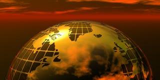 在日落的企业金黄地球 免版税图库摄影