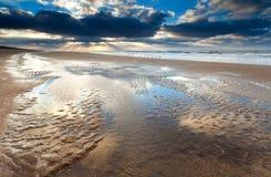 在日落的低潮在北海 库存图片