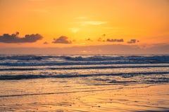 在日落的俄勒冈海岸 库存照片