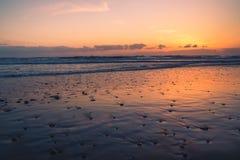 在日落的俄勒冈海岸 库存图片