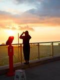 在日落的俯视的点 免版税库存照片