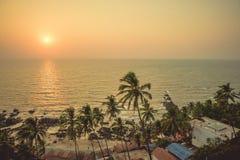 在日落的光芒的棕榈树在背景海滩的和 图库摄影