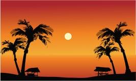在日落的全景海滩 库存照片