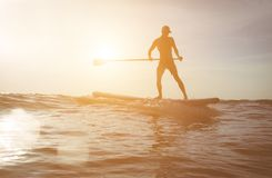 在日落的冲浪者剪影 库存照片