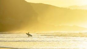 在日落的冲浪者输入的水 免版税库存图片