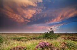 在日落的剧烈的双突透镜的云彩 库存图片