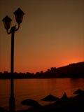 在日落的剪影。 免版税图库摄影