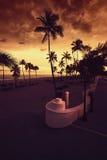 在日落的劳德代尔堡海滩 库存图片