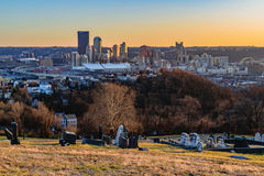 在日落的匹兹堡地平线 图库摄影