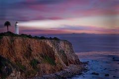 在日落的南加州灯塔 图库摄影