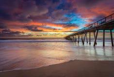 在日落的南加州码头 库存照片