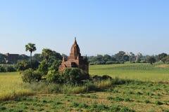 在日落的古老Bagan寺庙,曼德勒,缅甸 免版税库存图片