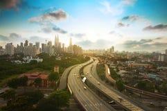 在日落的吉隆坡地平线 免版税库存照片