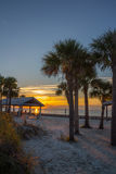 在日落的哈德森海滩 库存图片