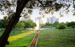 在日落的喷泉在绿色城市公园 免版税库存照片