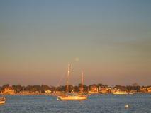 在日落的圣奥斯丁海湾 图库摄影