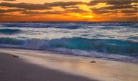 在日落的坎昆海滩 免版税库存照片