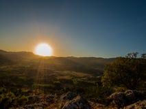 在日落的大太阳 库存图片