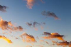 在日落的天空 免版税库存图片