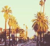 在日落的好莱坞大道 库存图片