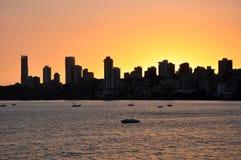 在日落的孟买地平线 免版税库存照片