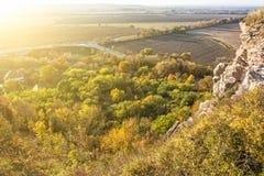 在日落的季节性自然户外场面 库存图片
