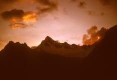在日落的安地斯 库存照片