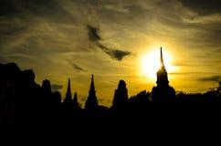 在日落的寺庙 库存图片