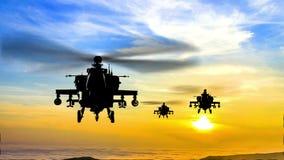 在日落的导弹攻击乘武装直升机直升机 库存例证