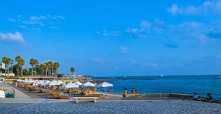 在日落的小海滩在帕福斯,塞浦路斯 库存照片