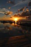 在日落的小船码头 库存照片