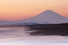 在日落的山富士 库存照片