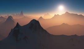 在日落的山谷 库存照片