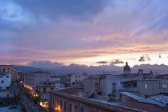 在日落的巴勒莫视图。西西里岛 免版税图库摄影