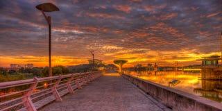 在日落的布城水坝 库存图片