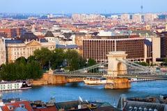 在日落的布达佩斯都市风景 免版税库存照片