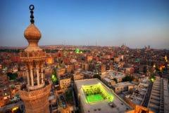 在日落的开罗天线 免版税库存图片
