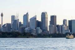 在日落的悉尼地平线 库存图片
