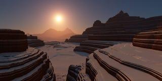在日落的斯诺伊峡谷 图库摄影