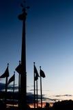 在日落的旗子剪影 免版税图库摄影