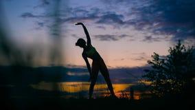 在日落的无忧无虑的妇女跳舞 假期生命力健康生存概念
