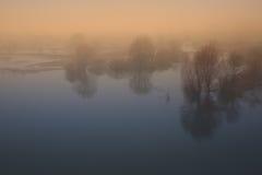 在日落的春天雾 图库摄影