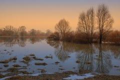 在日落的春天雾 库存图片