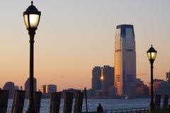 在日落的曼哈顿南部 免版税库存图片