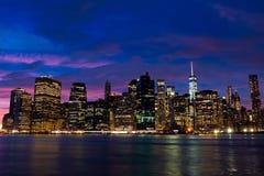 在日落的曼哈顿 免版税库存照片