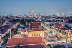 在日落的曼谷都市风景 免版税库存照片